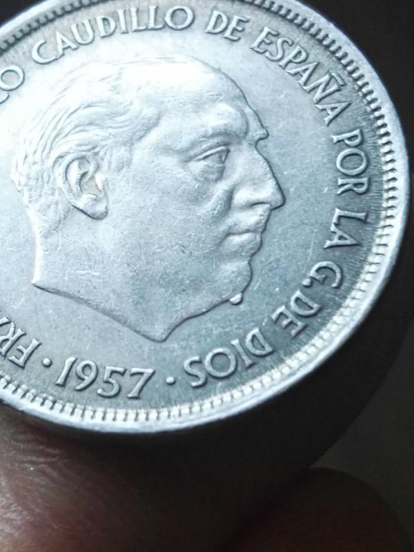 """25 pesetas 1957 Estrella 68 """"verruga en barbilla"""" 15014860996571766760981"""