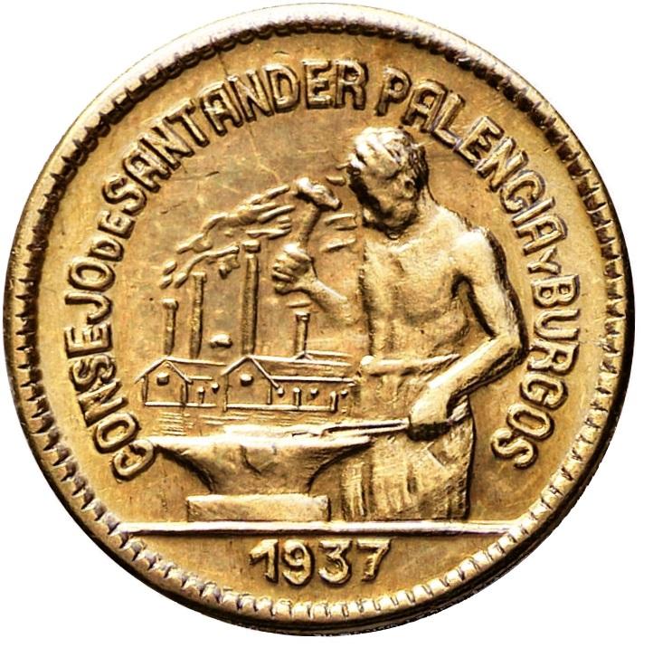 Prueba de oro de los 50 Cts. del Consejo de Santander, Palencia y  Burgos 4_A_samengevoegd