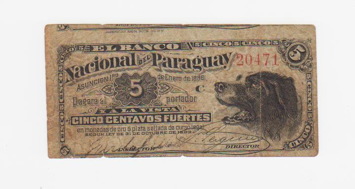 5 Centavos Fuertes Paraguay, 1886 Uruguay_1886