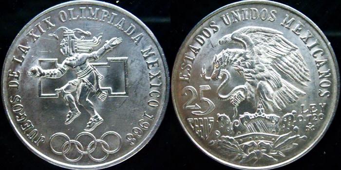 25 Pesos (conmemorativa olimpiadas del 1968). México. 1968 25pesos
