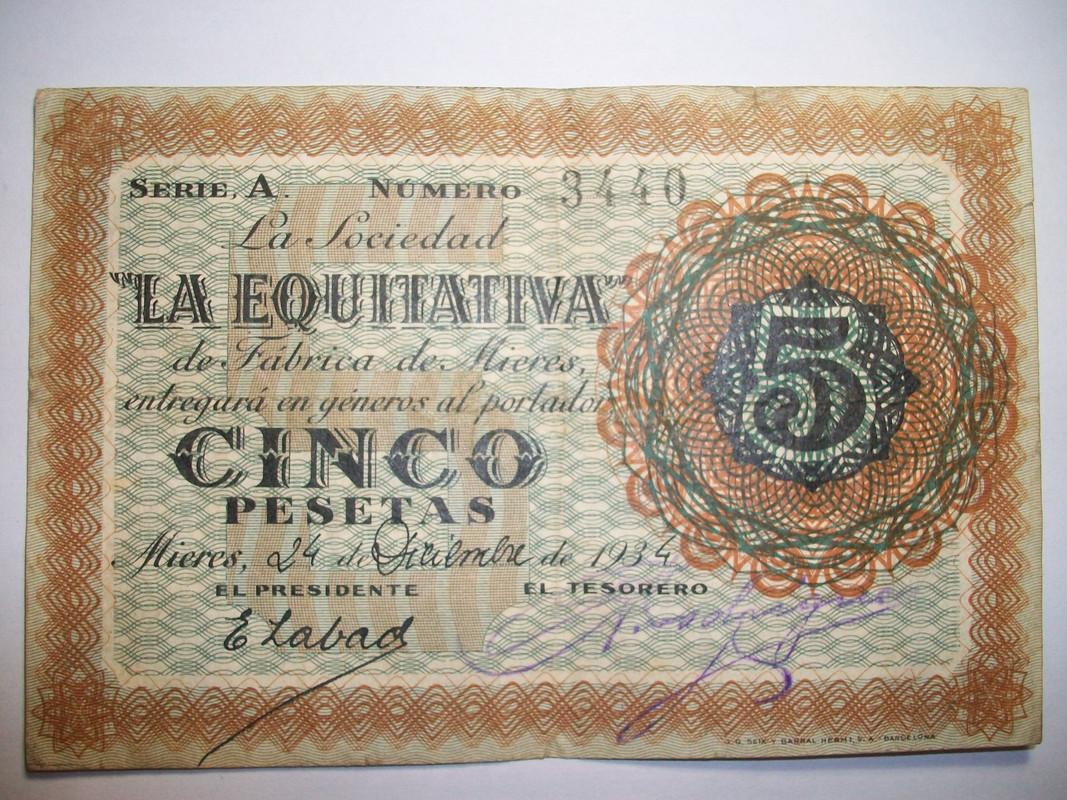 5 Ptas Sociedad La Equitativa de Fábrica de Mieres. 24 de Diciembre de 1934 5_Pts_La_equitativa_1934_Anv