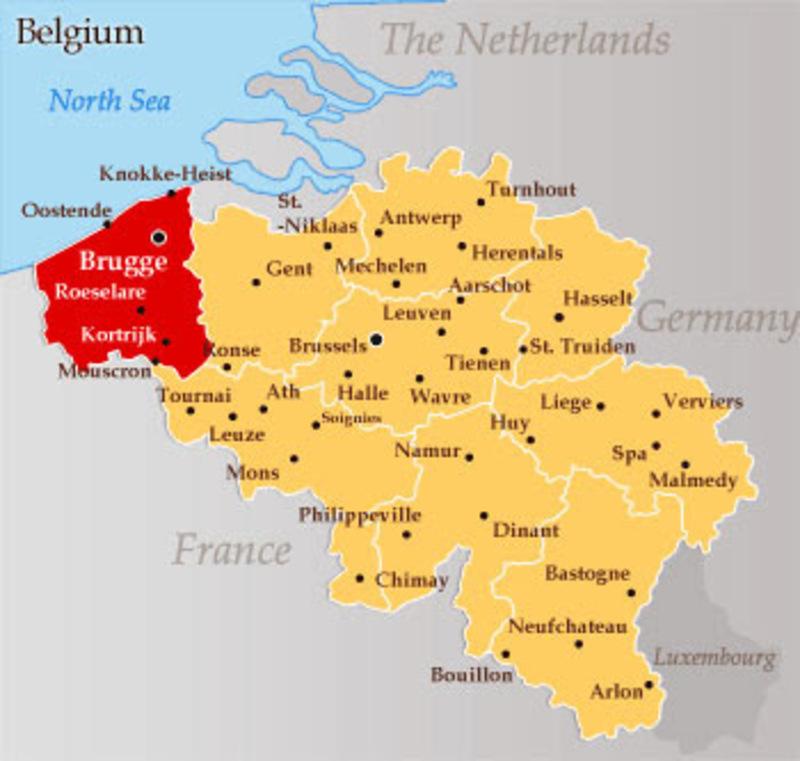 1 Patagón 1655. Felipe IV. Brujas. La Capital del Condado de Flandes. Brujas_map_1