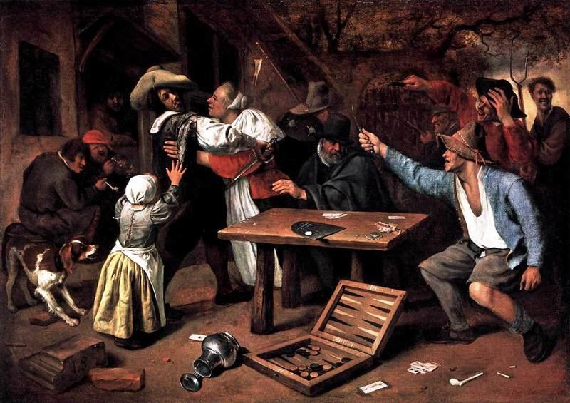 1 Patagón 1655. Felipe IV. Brujas. La Capital del Condado de Flandes. Jan_Steen_Argument_over_a_Card_Game_WGA21735