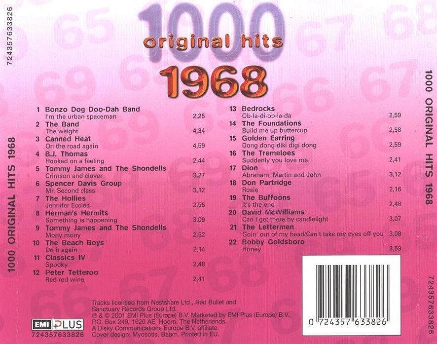 1000 Original Hits 1960-1999  1000_Original_Hits_1968_-_Back