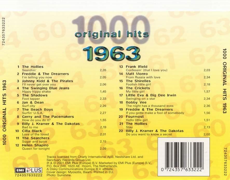 1000 Original Hits 1960-1999  1000_Original_Hits_1963_-_Back