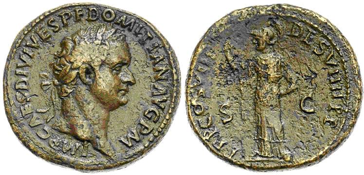 As de Domiciano. TR P COS VIII DES VIIII P P - S C. Minerva estante a izq. Roma. Image