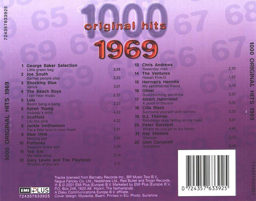 1000 Original Hits 1960-1999  1000_Original_Hits_1969_-_Back
