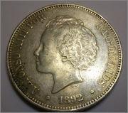 5 Pesetas. Alfonso XIII 1892 P·G· ·M· 5_pts_alfonso_VIII_1892_ANVERSO_MBC