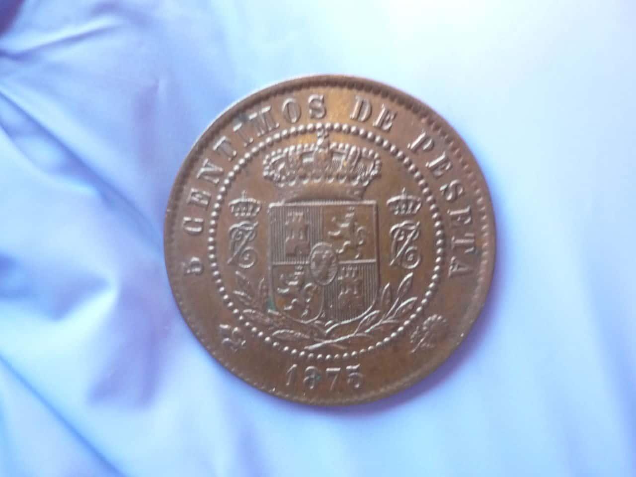 5 centimos CARLOS VII 1875 - ayuda con manchas verdes P1040282