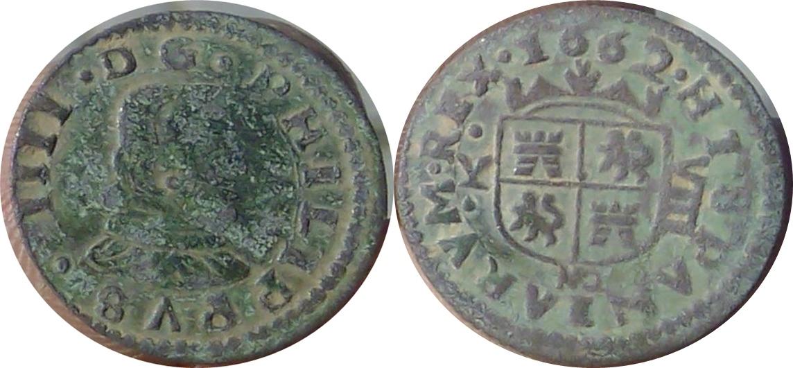 8 maravedís de 1662. Felipe IV, Madrid Y Image