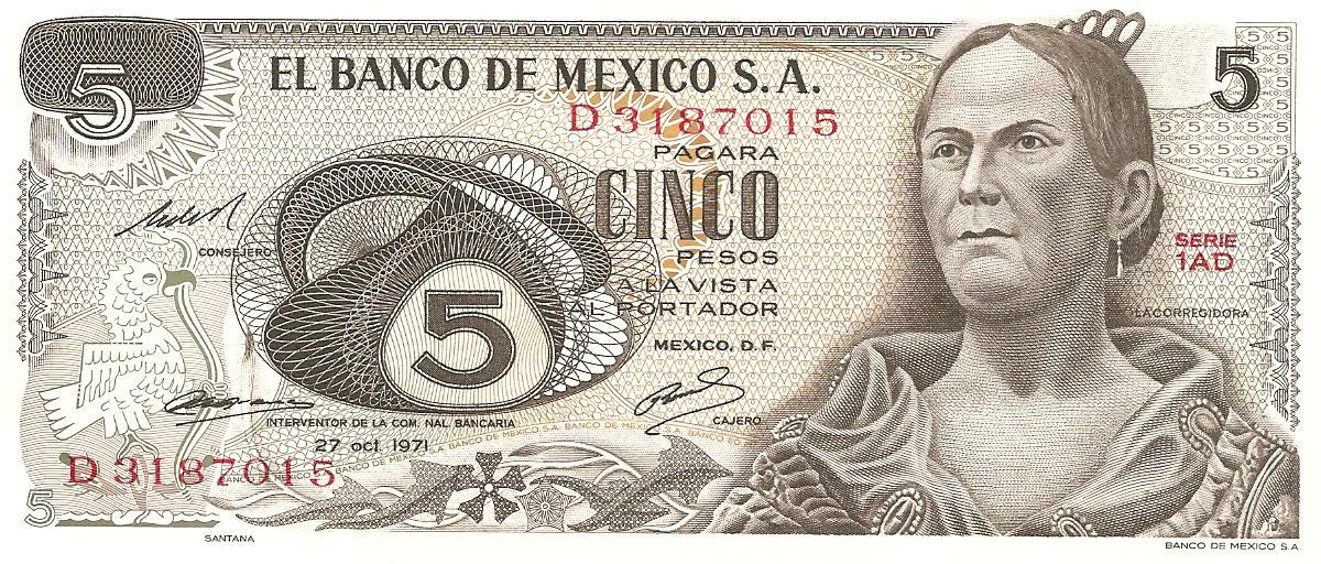 5 peso de México año 1971 Image