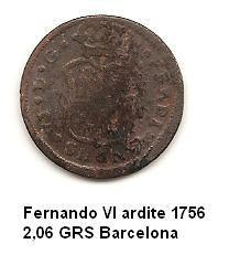 1 ardite de Fernando VI año 1756 Image