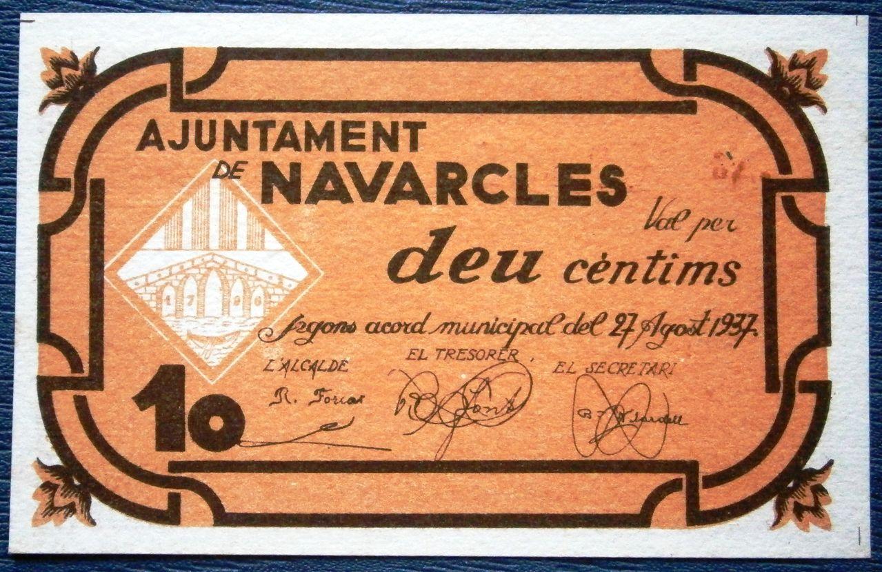 Navarcles 10 Centimos 27 de Agosto de 1937 Guerra Civil  P1010032