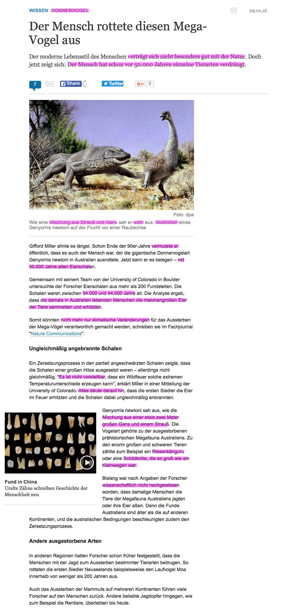 Ausgestorben oder ausgedacht? Tiere die es nicht (mehr) gibt! Donnervogel