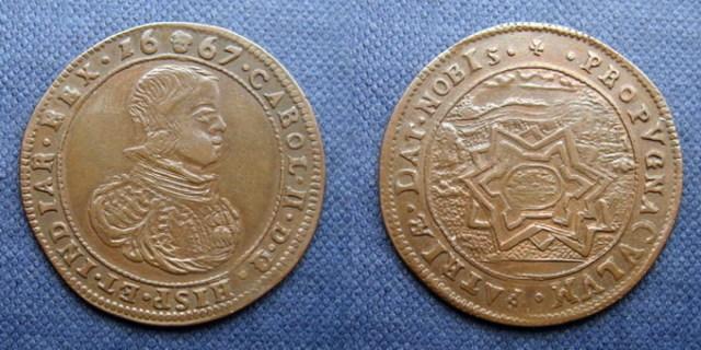 Jetón Fortificación de Charleroi. Año 1667. Bruselas. Carlos II. Dedicado a Sevix Jeton_Carlos_II_1667_Bruselas_Finalizacion_de_la