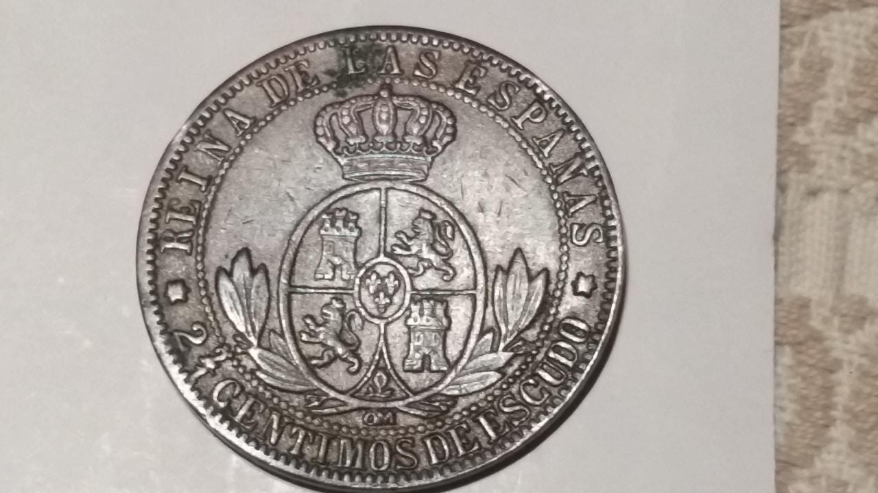 Raros 2 céntimos y medio de escudo Madrid 1868 20160808_210127