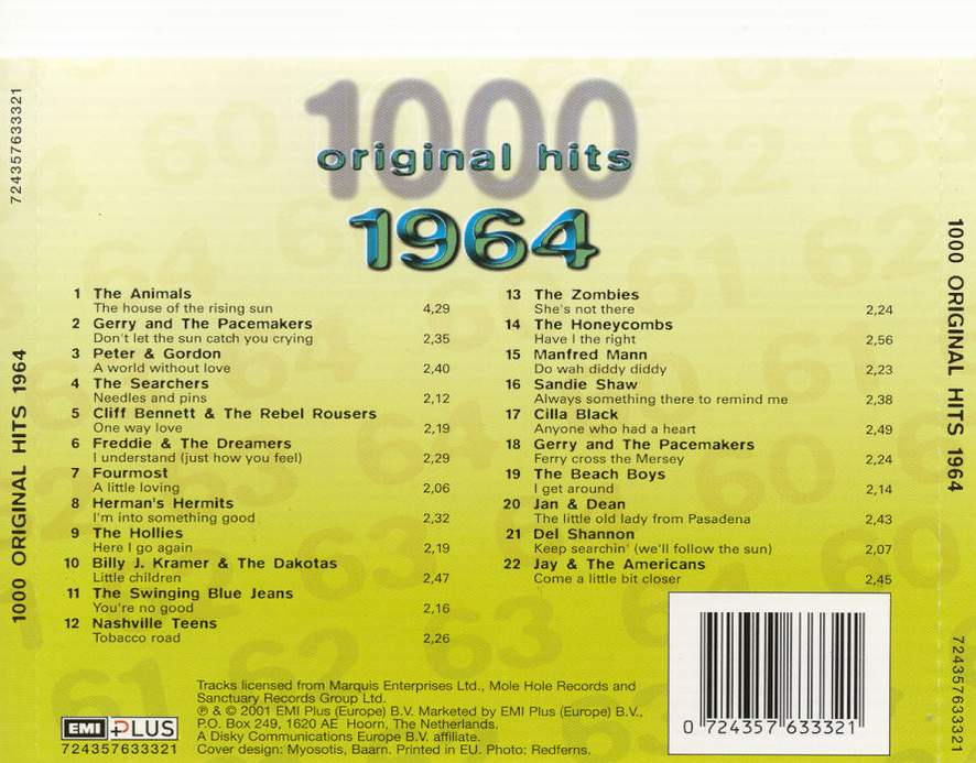 1000 Original Hits 1960-1999  1000_Original_Hits_1964_-_Back