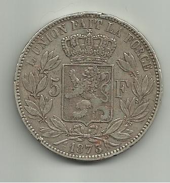 5 francos belgas 1873 Leopoldo II 5_francos_Belgica_Leopoldo_II_1873_rever