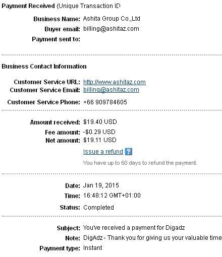 2º Pago de DigAdz ( $19,40 ) Digadzpayment