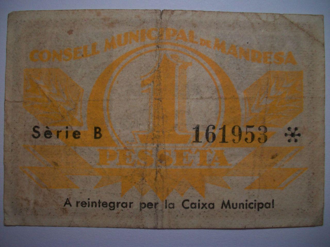 1 Peseta Consell Municipal de Manresa, 1937 100_1919