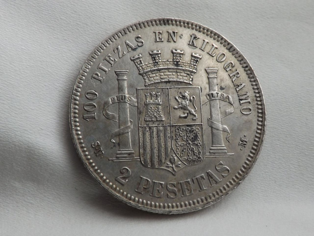 2 PESETAS 1869 GOBIERNO PROVISIONAL, ¡  ESPECTACULAR ! Image