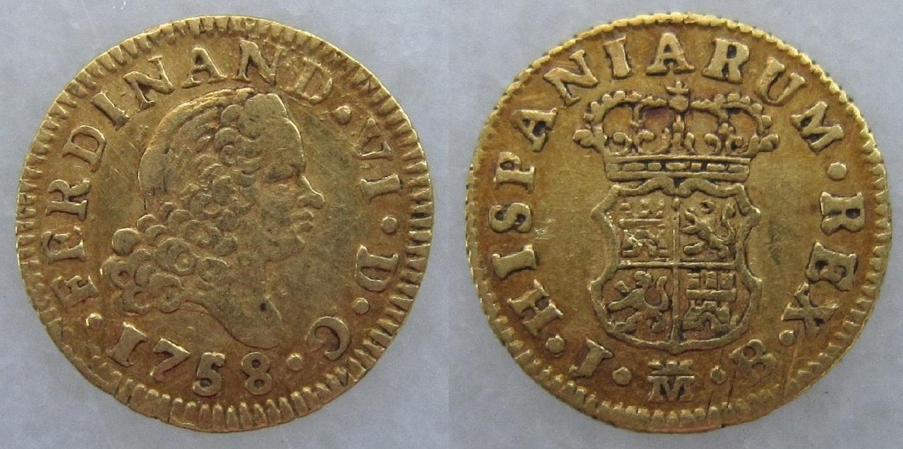 1/2 Escudo Fernando VI 1758 Ceca Madrid Escudo_Madrid_1758_Fernando_VI