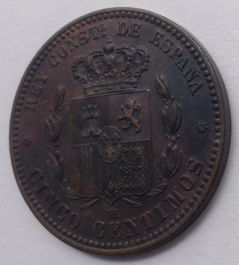 5 céntimos 1877. Alfonso XII Image
