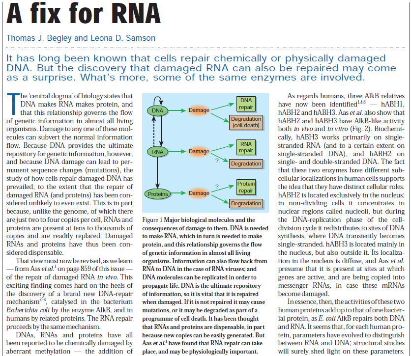 DNA and RNA error checking and  repair, amazing evidence of design RNA_fix