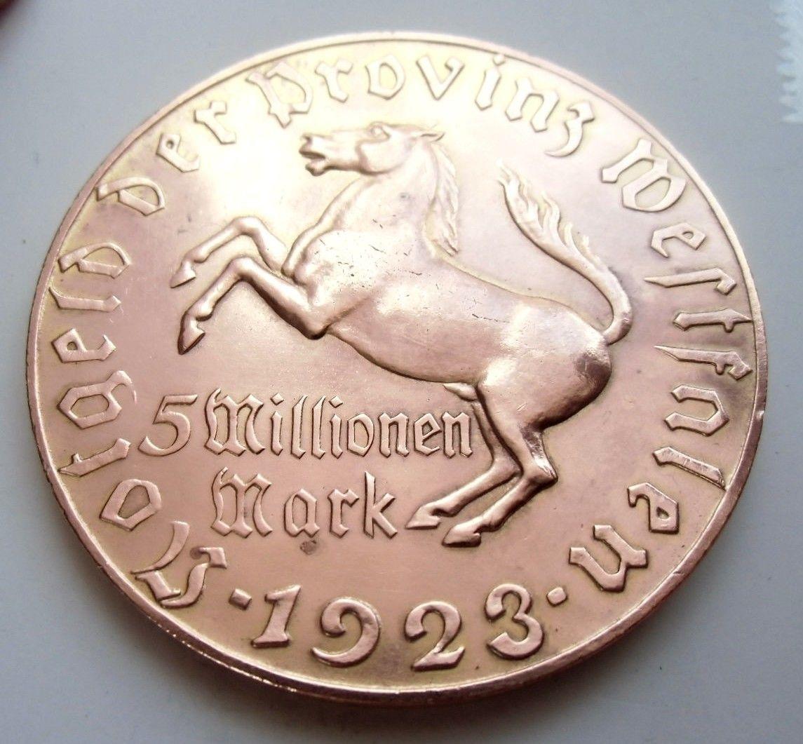 Monedas de emergencia emitidas por el banco regional de Westphalia 1923_5mb