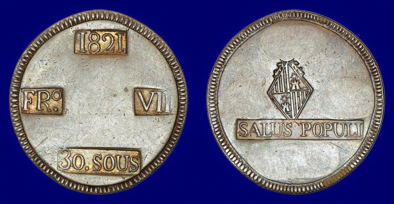 30 Sous 1821. Fernando VII. Mallorca. Dedicada a María Antonia por hecharme de menos. :-) 1383