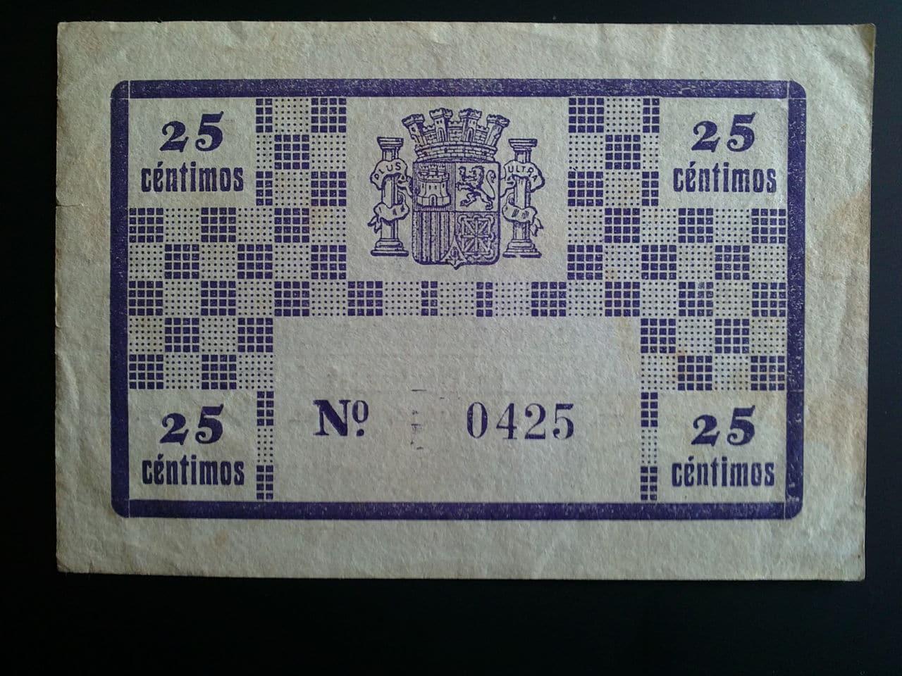 25 Céntimos San Miguel de Salinas (Alicante) 1937 08022013032