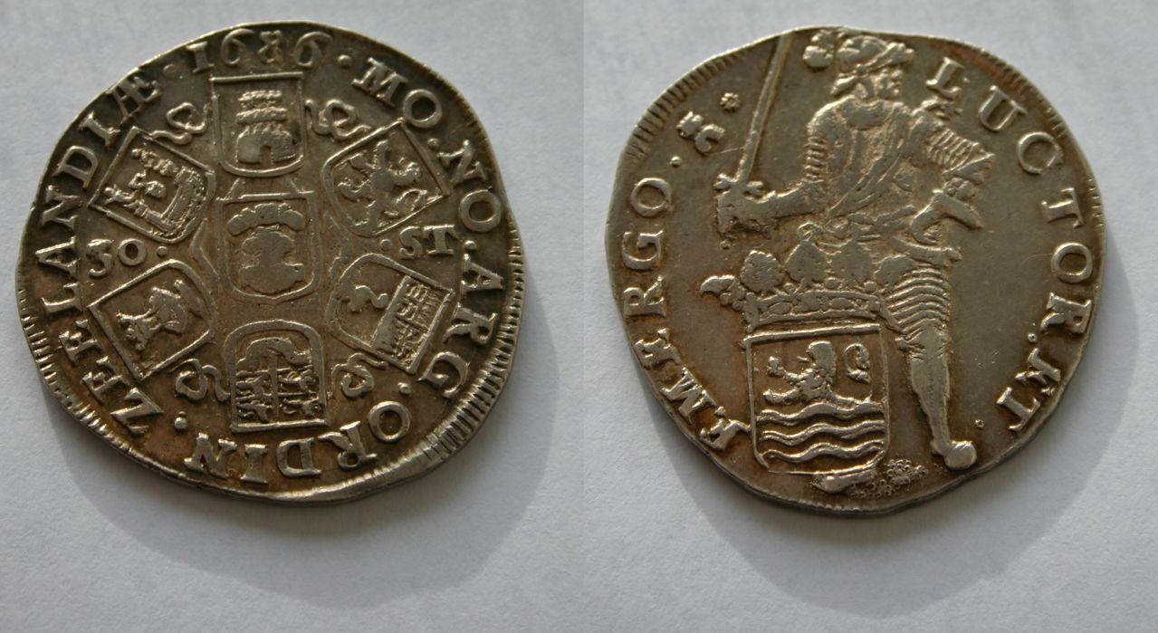 30 stuivers 1686 de la provincia Zelanda. Países Bajos. 30_Stuiver_Zeeland