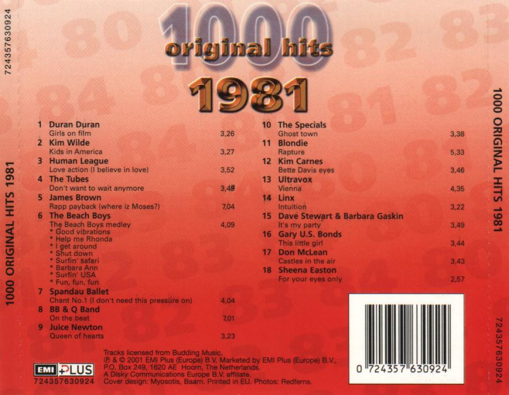 1000 Original Hits 1960-1999  1000_Original_Hits_1981_-_Back