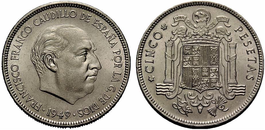 5 pesetas  1949* 52  Estado Español Image