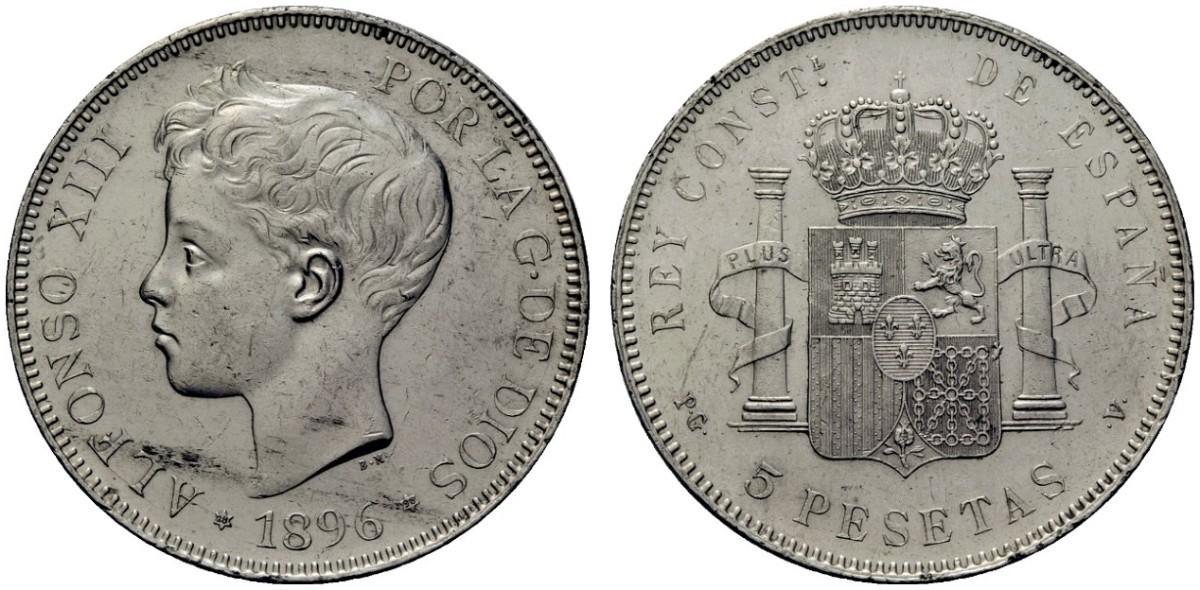 ALFONSO XIII. 5 pesetas. 1896*18-96. PGV 2177101l_1