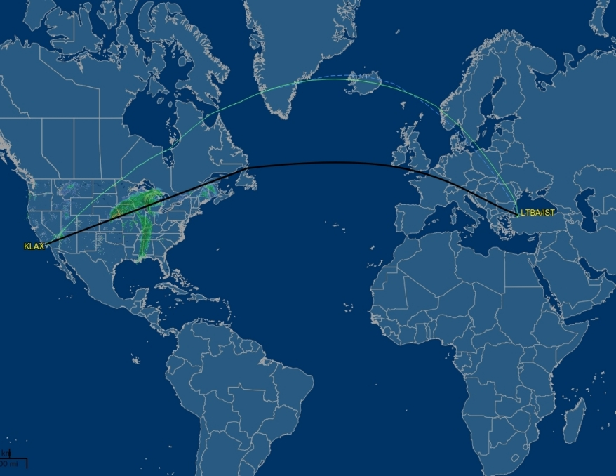 Flight Routes, Shipping Routes, Under Sea Cables Be_lax_istanbul_short