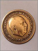 1 peseta 1947 estrella 56. Estado Español. Image