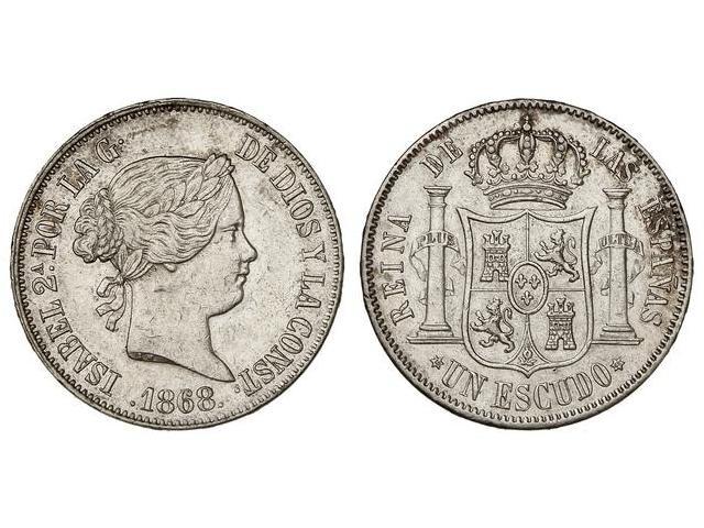 1 escudo 1868 Isabel II Madrid. 1510485