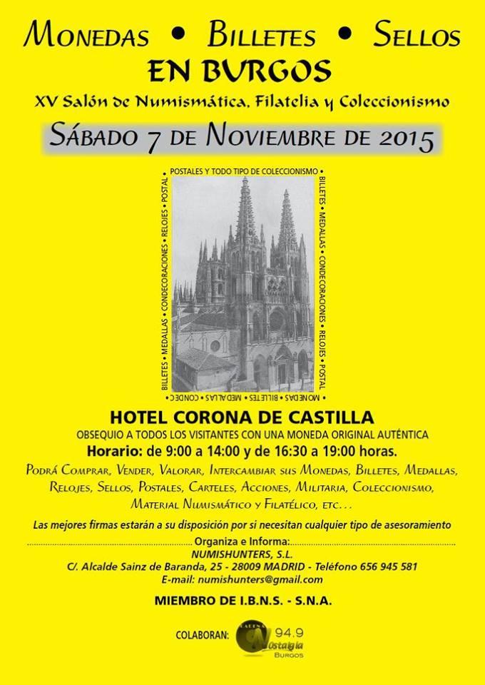 Convención Numismática Burgos,Sábado 7 Noviembre 2015 Cnvbur7n
