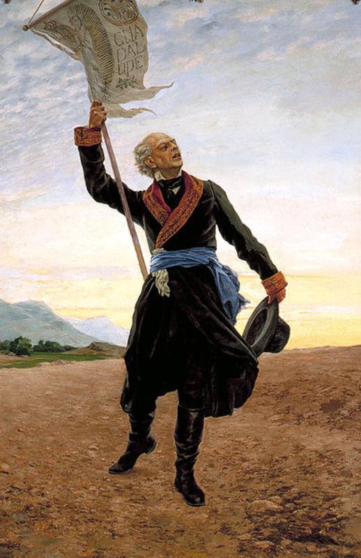 8 Reales 1821. Fernando VII. RG. Zacatecas. Una Ceca de Guerra 388px_Miguel_Hidalgo_con_estandarte_1