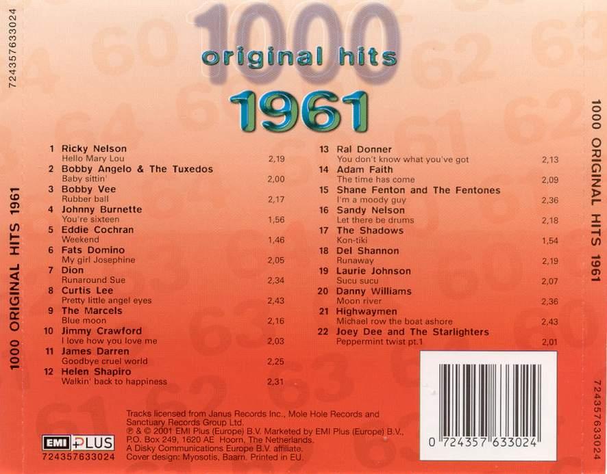 1000 Original Hits 1960-1999  1000_Original_Hits_1961_-_Back