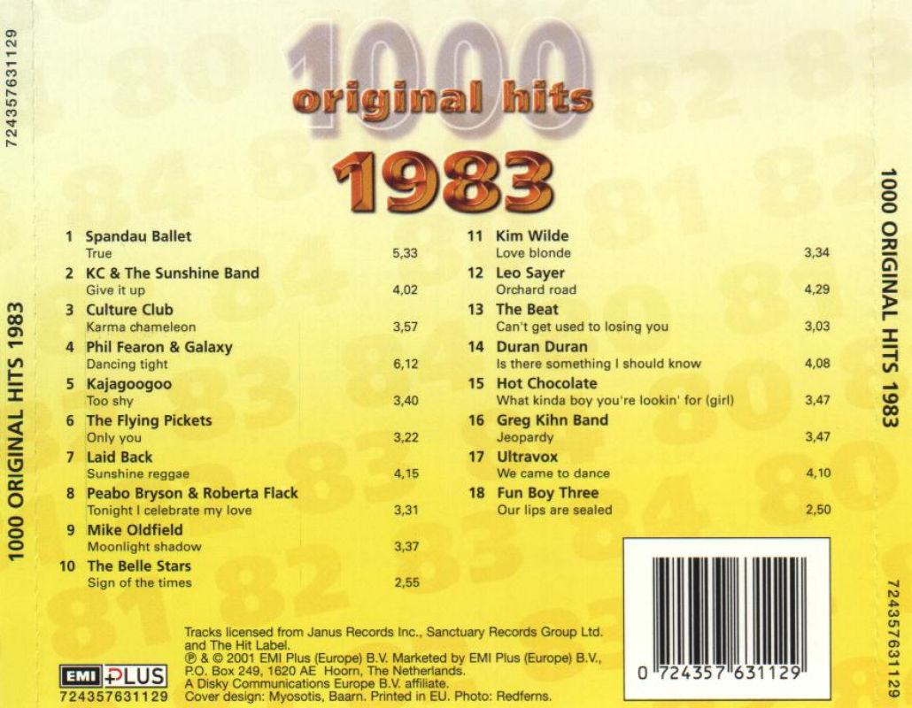 1000 Original Hits 1960-1999  1000_Original_Hits_1983_-_Back