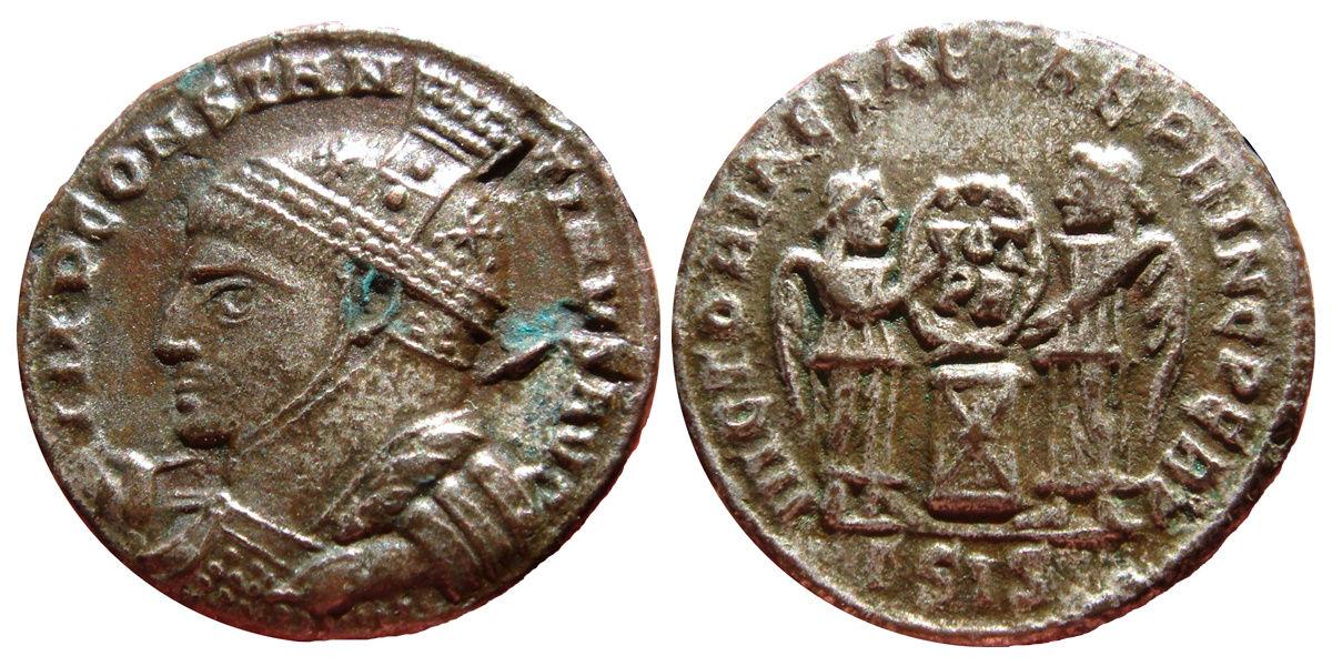 AE3 de Constantino I. VICTORIAE LAETAE PRINC PERP. Siscia 272