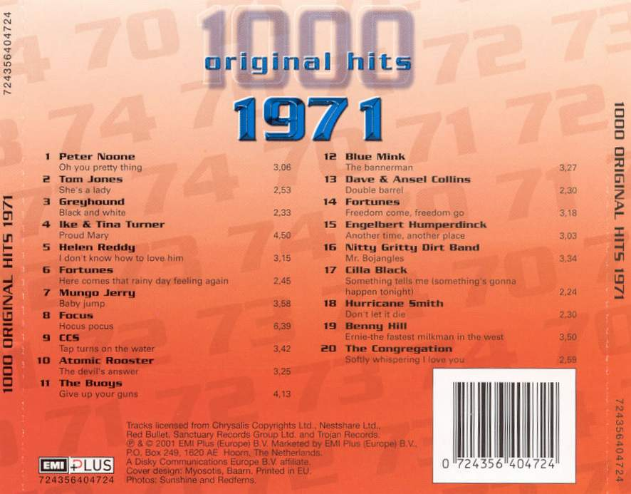 1000 Original Hits 1960-1999  1000_Original_Hits_1971_-_Back