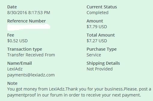 4º Pago de Lexiadz ( $7,79 ) Lexiadzpayment