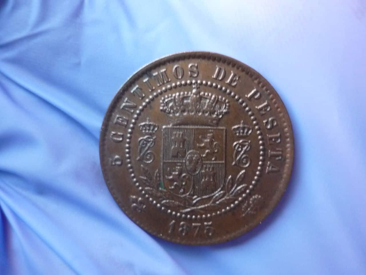 5 centimos CARLOS VII 1875 - ayuda con manchas verdes P1040283