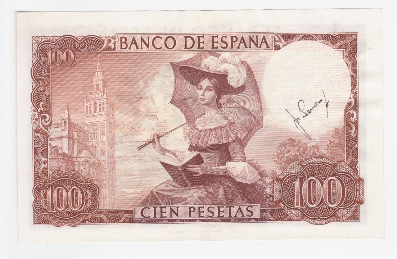 100 Pesetas 1965 (Firma cajero anverso y reverso) 100_pesetas_1965_firma_cajero_reverso_001