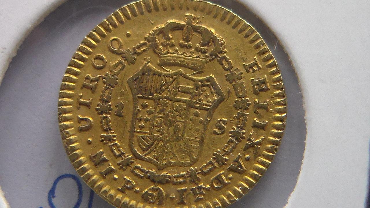 1 Escudo 1814 Fernando VII -Popayan- busto de Carlos IV -  SAM_0137