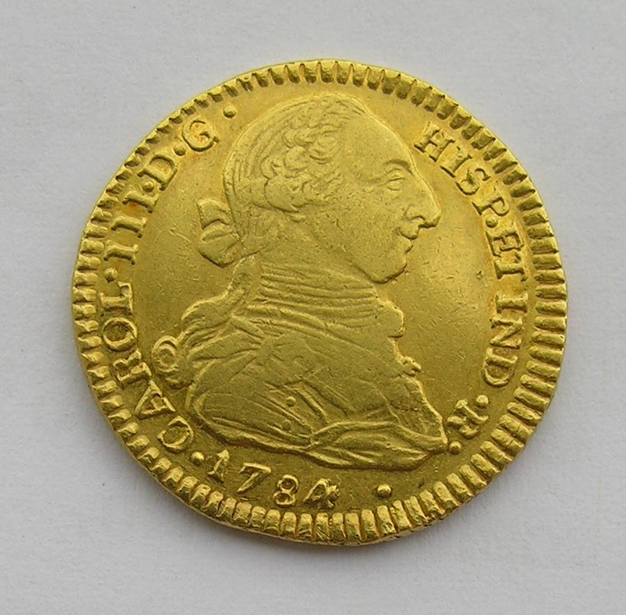 2 escudos 1784. Carlos III. Popayán. Moneda_oro_001
