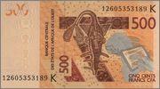 500 Francos CFA Senegal, 2012 West_African_States_Senegal_500_francs_2012
